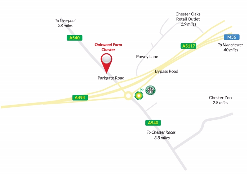 Oakwood Farm Chester location map